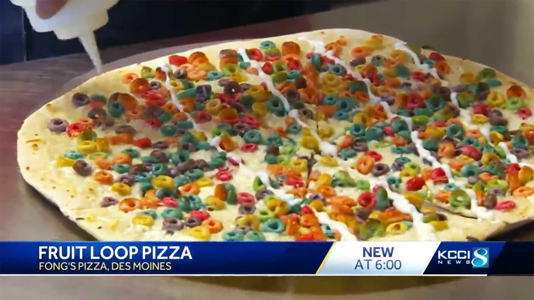 Frühstücks-Pizza mit Froot Loops drauf Fruit-Loops-Pizza