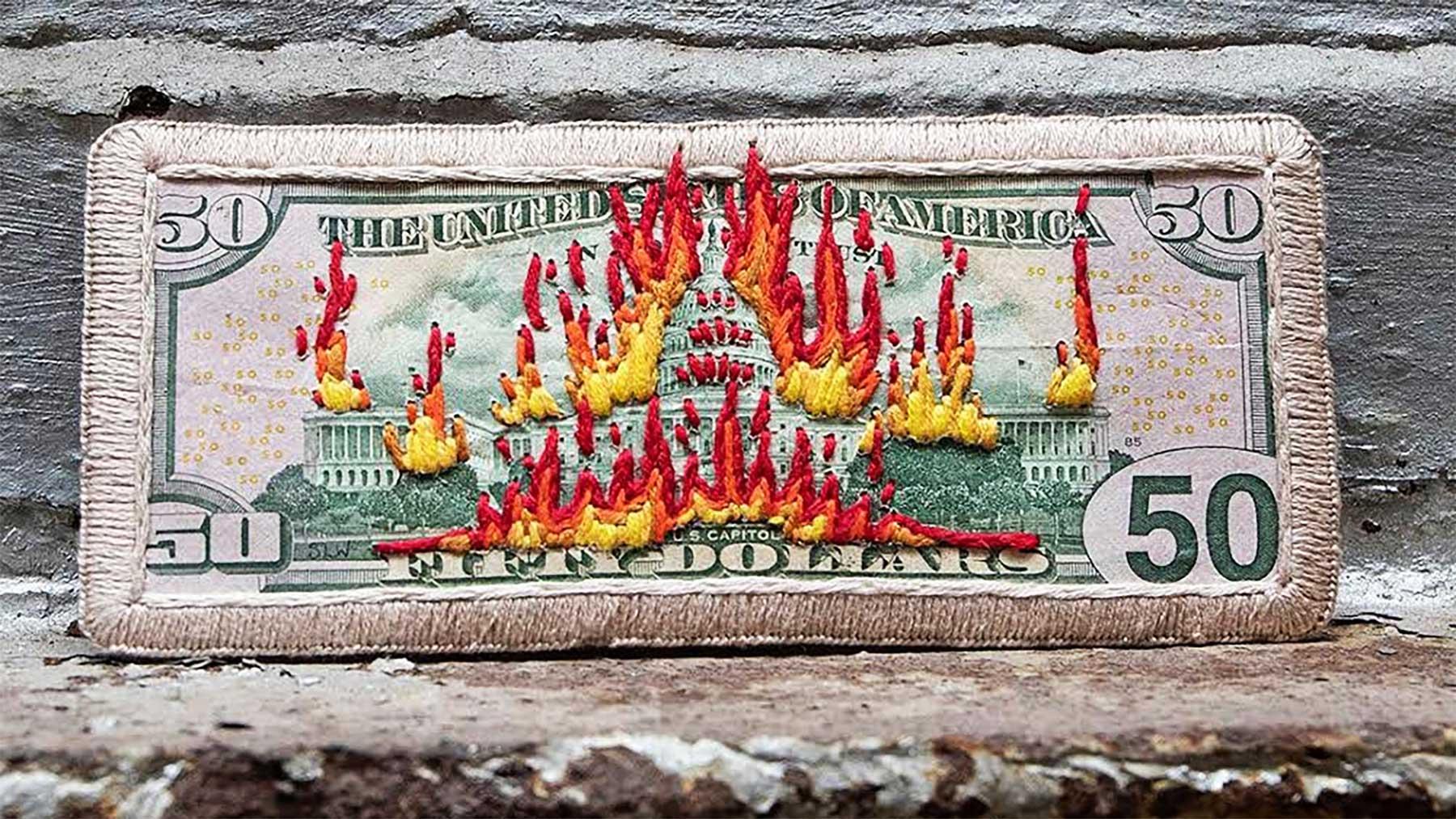 Stacey Lee Webber bestickt Dollarscheine