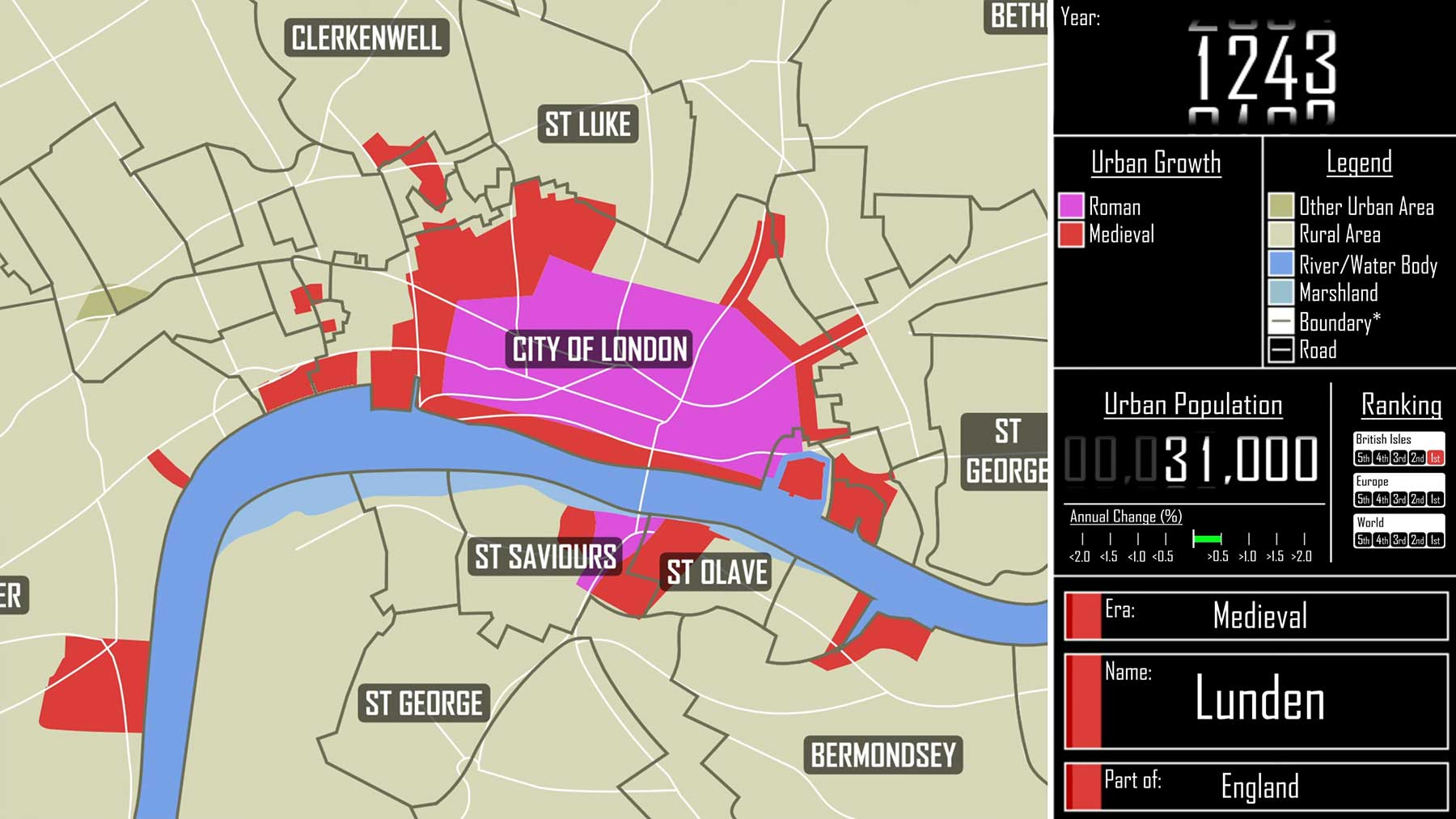 Das Wachstum von London von 47-2021
