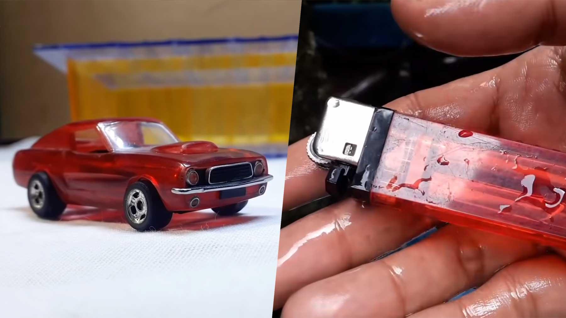 Modellauto aus einem Plastikfeuerzeug bauen