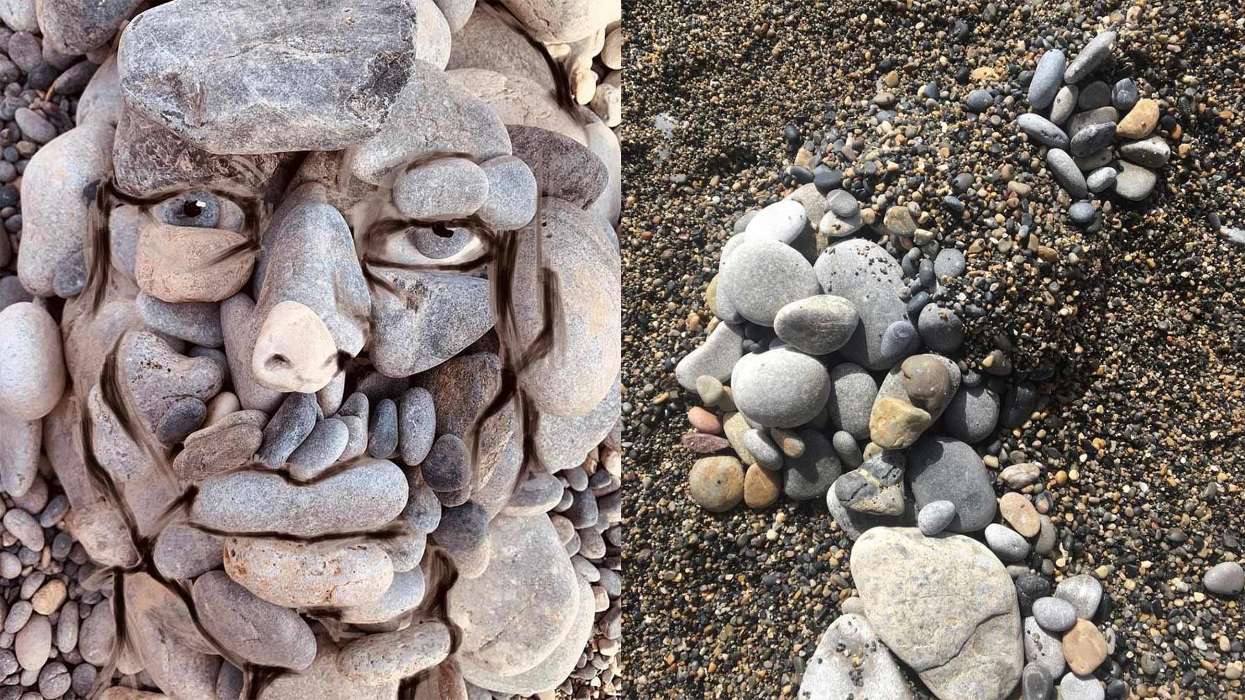 Gelegte Stein-Gesichter von Ilan Adar