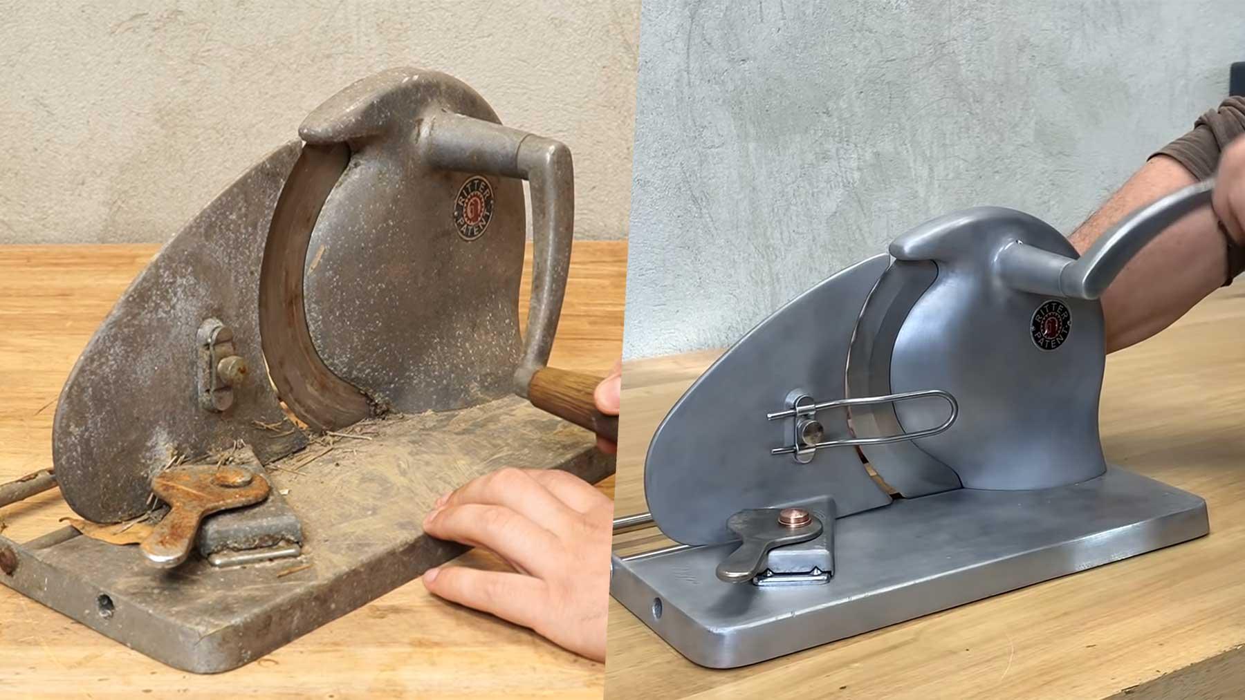 Restauration einer alten Brotschneidemaschine