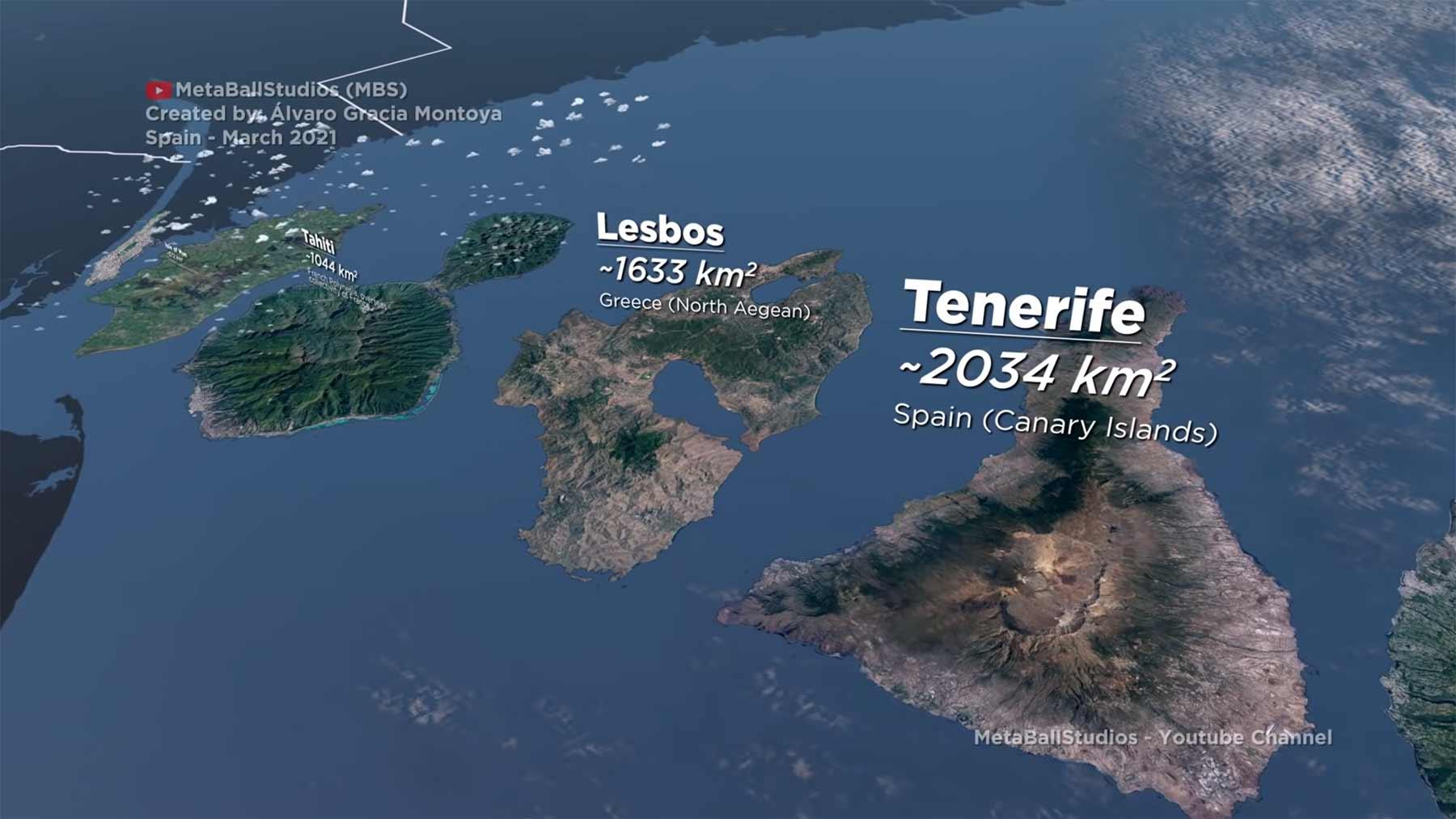 Inseln im Größenvergleich dargestellt