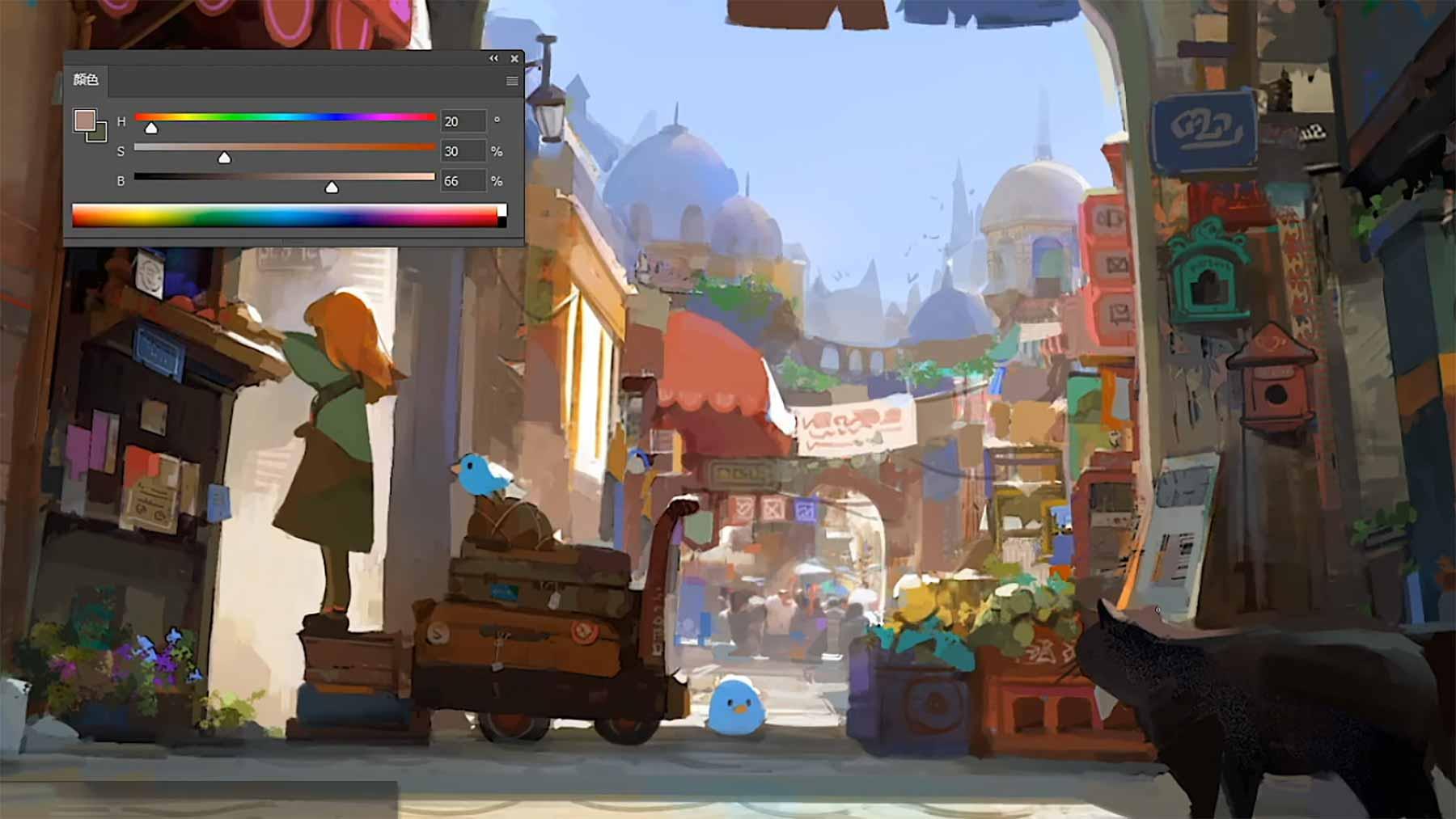 """Speedpainting: """"Little Alley"""" von Mengxuan Li little-alley-speedpainting-Mengxuan-Li"""