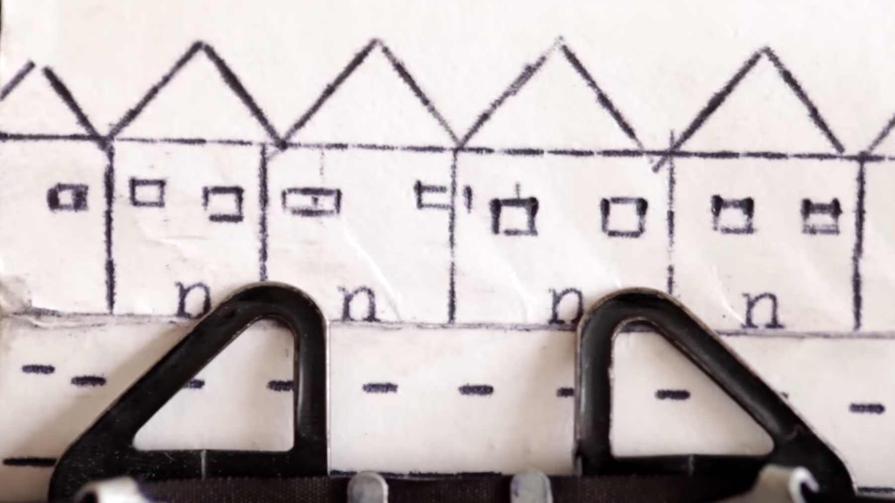 """Auf Schreibmaschine gemalte Geschichte: """"Cross A Bridge"""""""