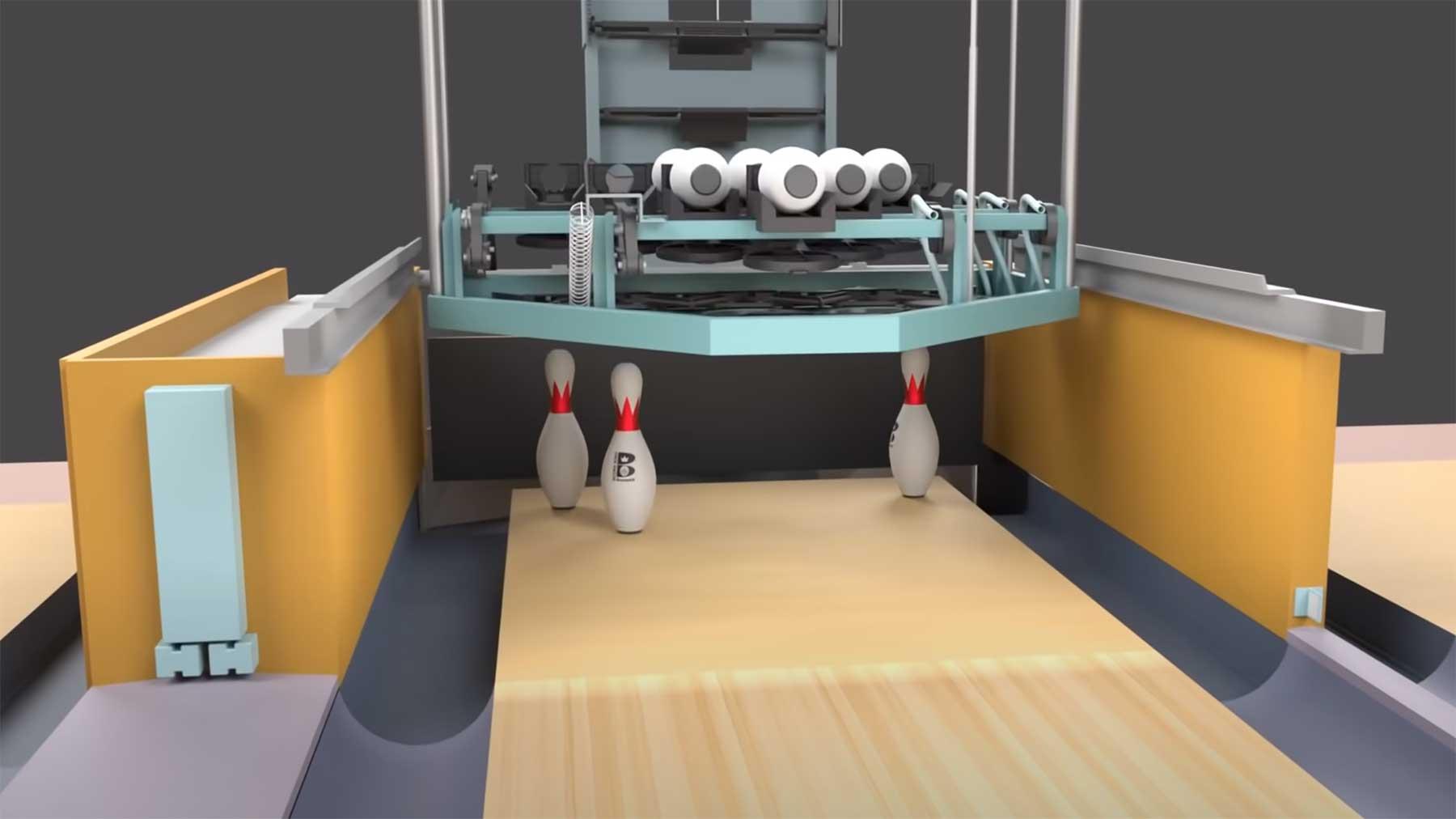 So funktioniert eine Bowlingbahn-Setz-Maschine