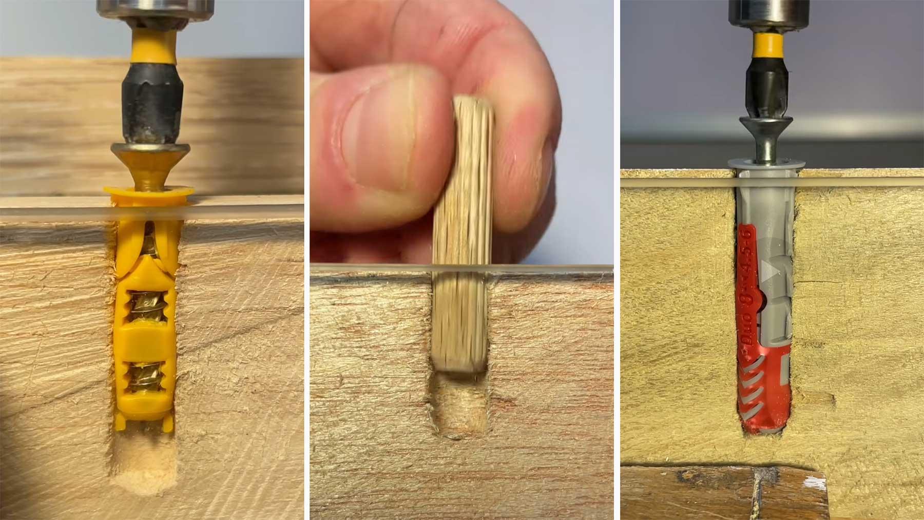 Querschnitt-Blick auf Dübel-Schraubungen