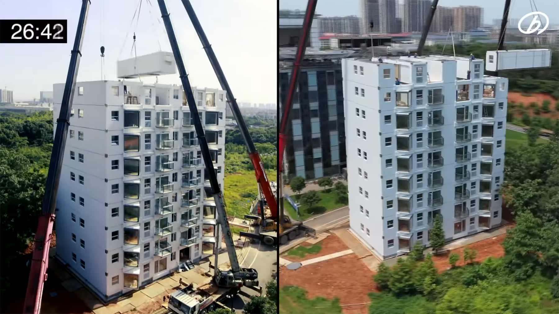 Timelapse-Bau eines 10-stöckigen Container-Hauses