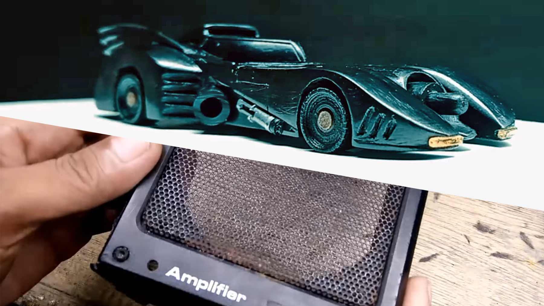 Batmobil-Modellauto aus Lautsprecher-Plastik gebaut