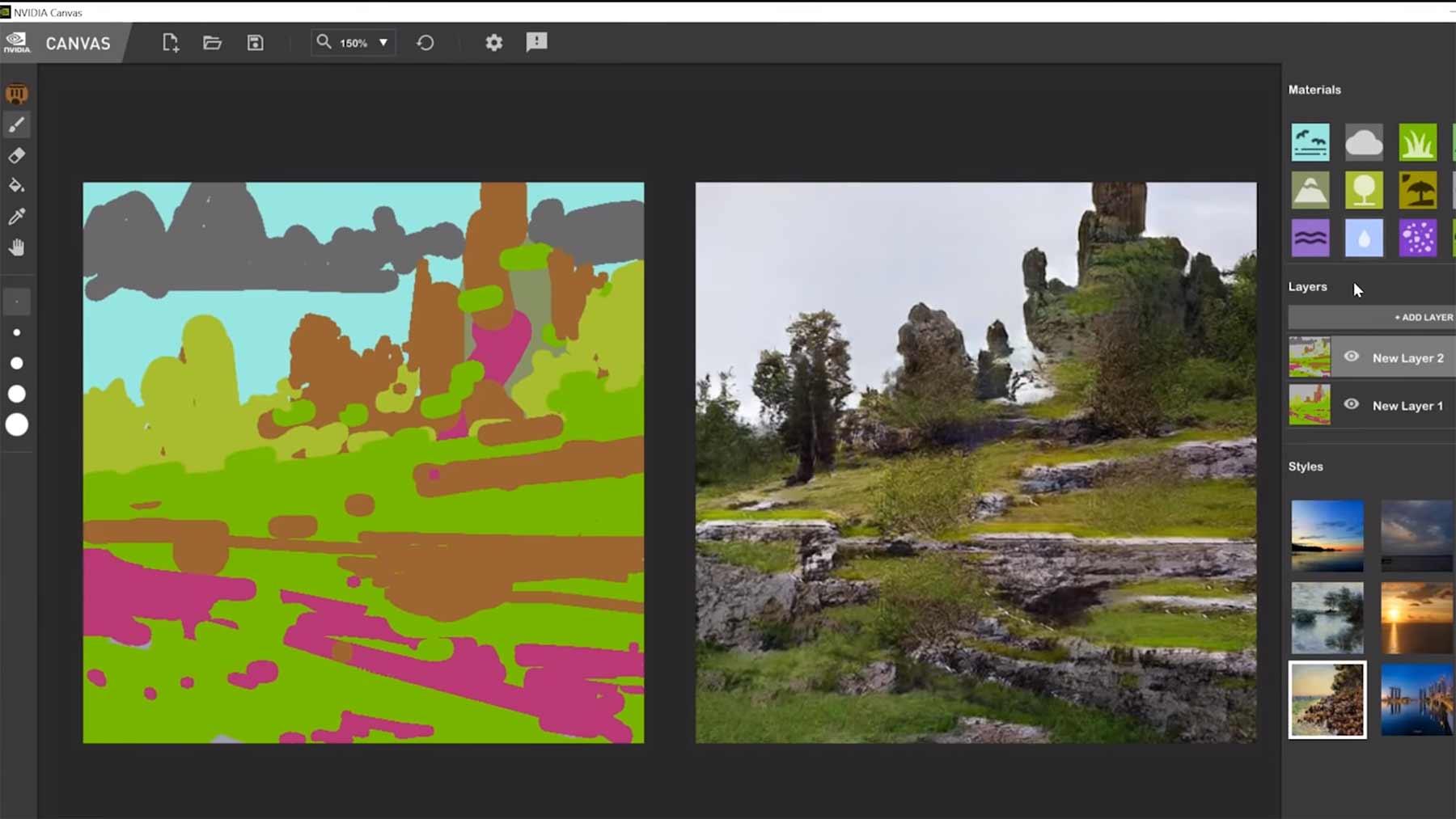 AI macht aus Gekritzel fotorealistische Landschaften