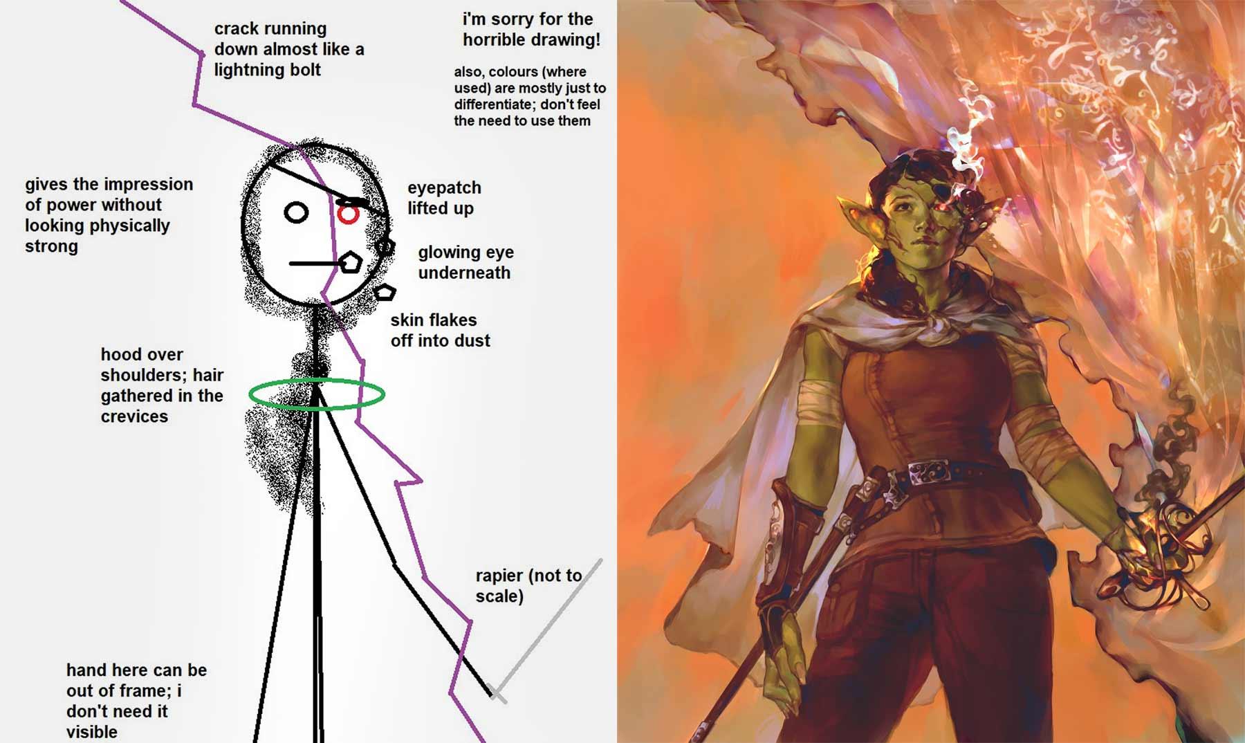 Kunden-Skizze vs. finales Artwork