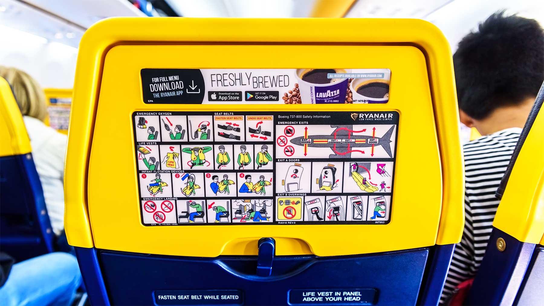 Das Design der Sicherheitshinweise von Ryanair ist ziemlich seltsam... RyanAir-Sicherheitshinweise