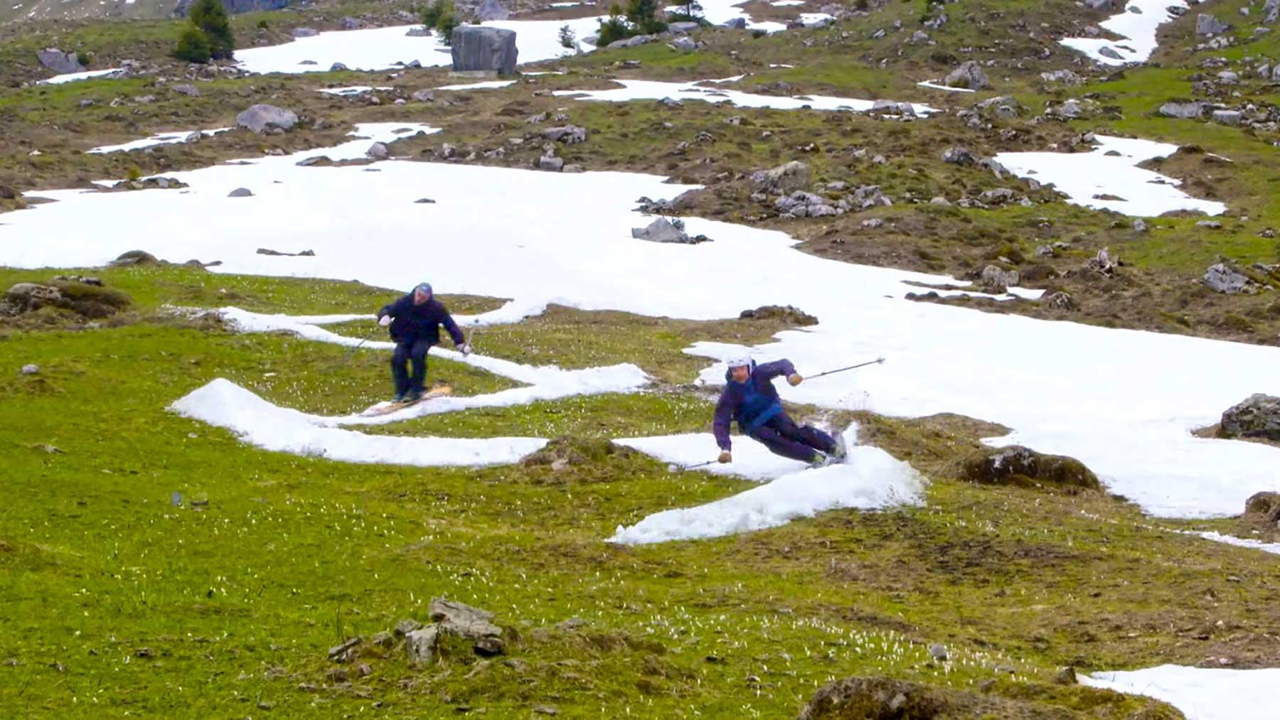 "Skifahren mit Stopmotion-Unterstützung: ""Maneuvers"" Ski-stopmotion-maneuvers"