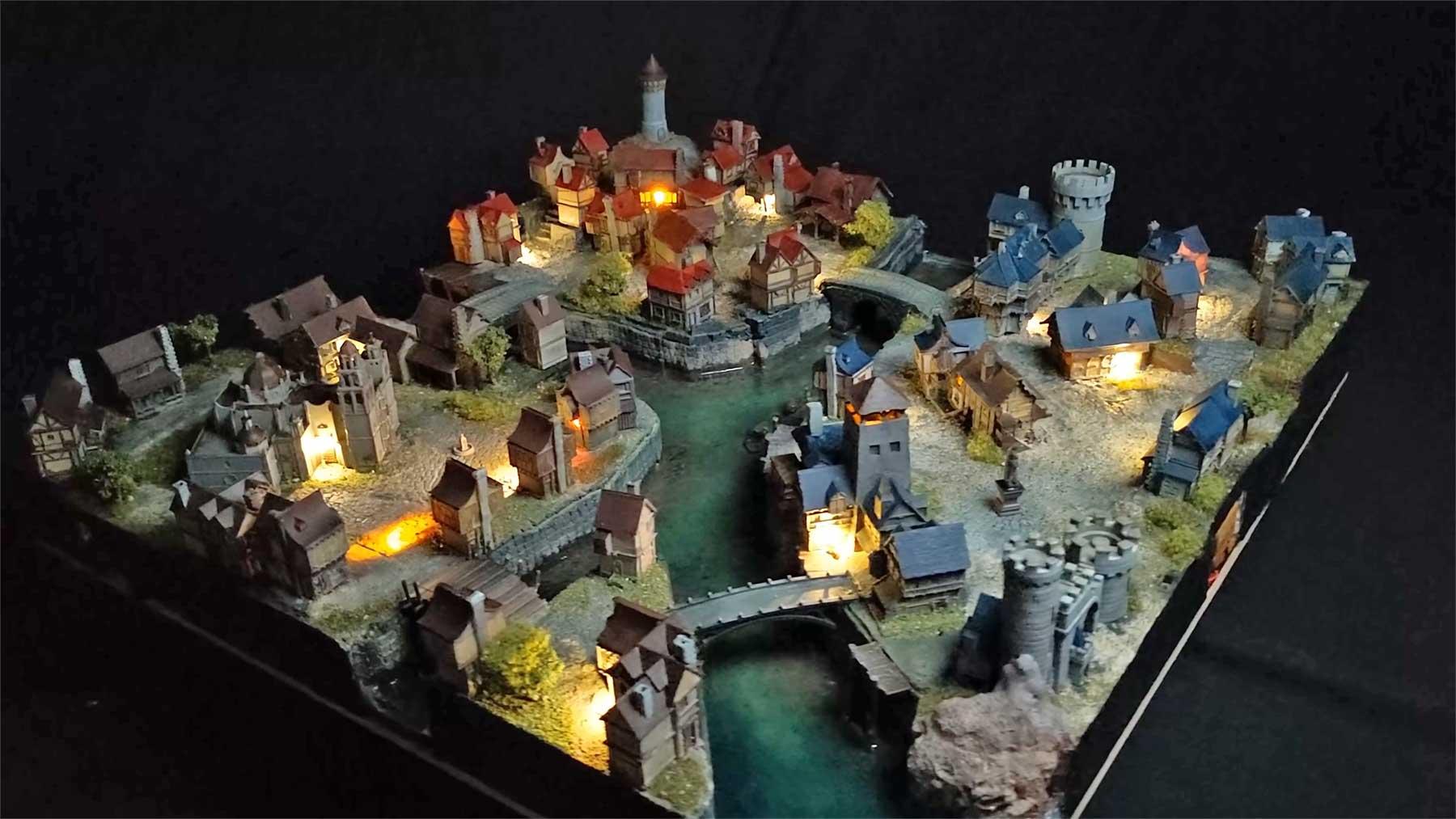 3D-gedruckte Mittelalter-Stadt im Miniatur-Format bauen