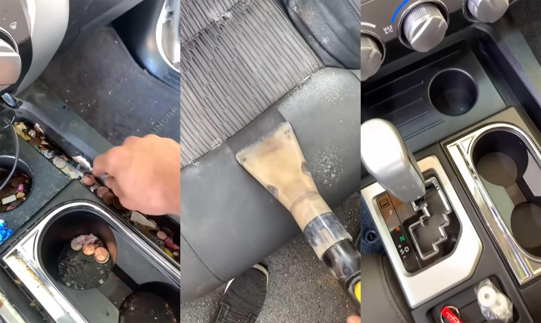 Grundreinigung eines verdreckten Auto-Innenraumes
